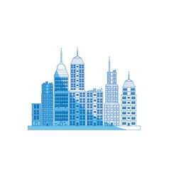 Building towers high town image blue line vector
