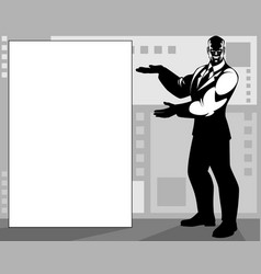businessman pointing at a banner vector image