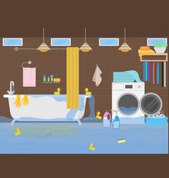 cartoon color flood in the toilet inside interior vector image