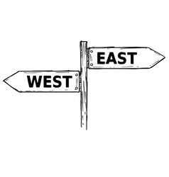 cartoon direction sign with two decision arrows vector image