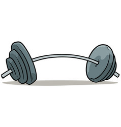 Cartoon metal weights barbell icon vector