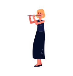 cartoon woman playing flute isolated on white vector image