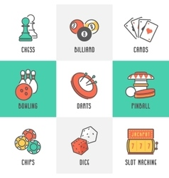 Casino Sport and Leisure Games Icons vector image
