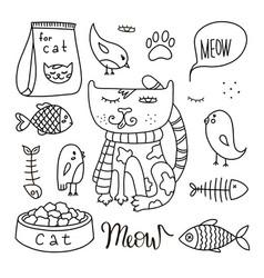 cats line doodle set 3 vector image