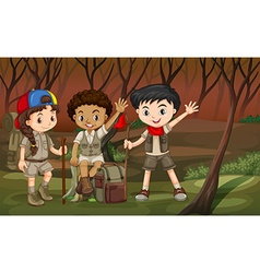Children hiking in the woods vector