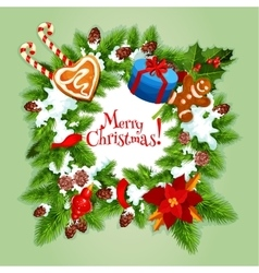 Christmas Day greeting card or poster design vector image