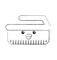 Cleaning brush kawaii character vector