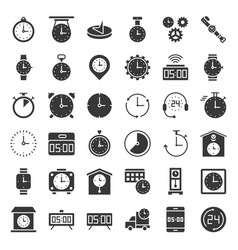 Clock watches and time related icon set such as vector