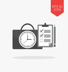Clock with briefcase and checklist icon Time vector image