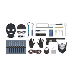 Collection of tools and equipment for theft vector
