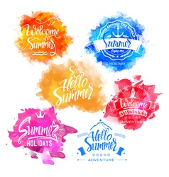 Collection summer and holidays labels vector