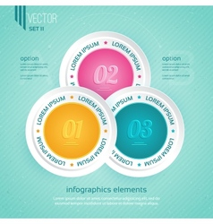 Colored icons for three steps vector image