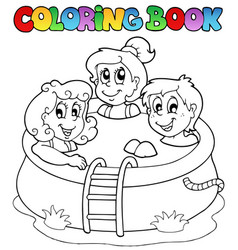 Coloring book with kids in pool vector