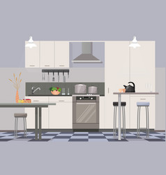 Comfortable modern design kitchen interior flat vector