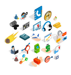 conference icons set isometric style vector image