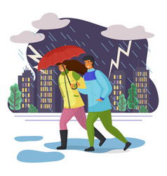 couple goes in pouring rain escaping under vector image
