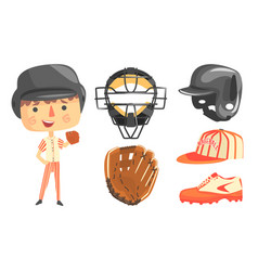 Cute boy baseball player with professional vector