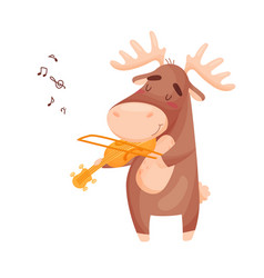Cute elk with a violin on vector