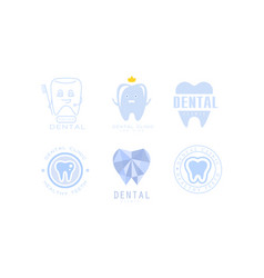 Dental clinic logo templates set kids dental care vector