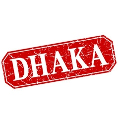 Dhaka red square grunge retro style sign vector