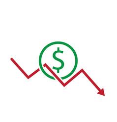 Dollar decrease icon business crisis bankrupt vector