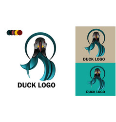Duck logo template design mockup vector