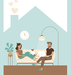 family working from home remotely vector image