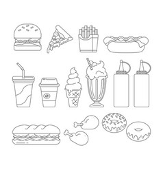 Fast food graphics outline vector