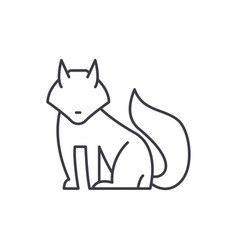 fox line icon concept fox linear vector image
