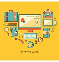 Freelance and remote creative work vector