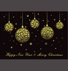 golden christmas balls on black background vector image