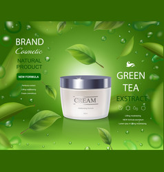 Green tea cream ads with leaves flying vector