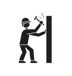 hammering a nail black concept icon vector image