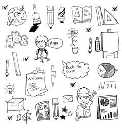 Hand draw doodle set school vector