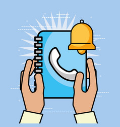 hands holding contacts book bell customer service vector image