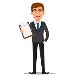 Handsome banker in business suit vector
