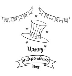 Happy independence day celebration hand draw vector