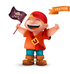 Happy pirate boy with jolly roger or crossed vector