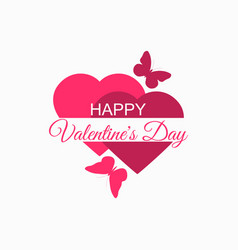 happy valentines day hearts and butterflies vector image