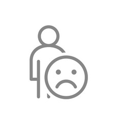Human with unhappy emotions line icon upset face vector