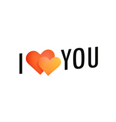i love you label with pair of hearts symbol black vector image