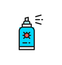 Insect spray bug disinfection flat color vector