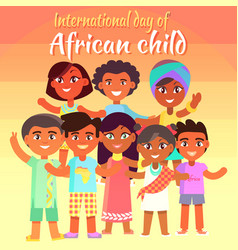 International day of african child bright poster vector