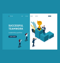 Isometric concept success in business teamwork vector