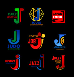 J icons sport energy and music corporate identity vector