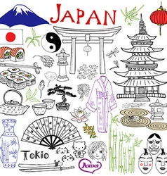 Japan doodles elements hand drawn set with vector