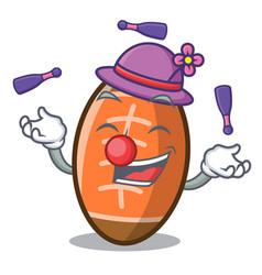 Juggling rugby ball mascot cartoon vector