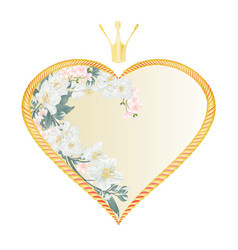 Label golden heart with a crown with jasmine vector