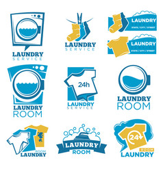 Laundry service template icons set of linen vector