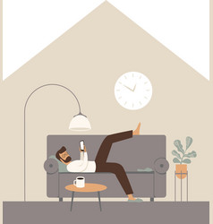 Lazy man lying on a sofa using smartphone vector